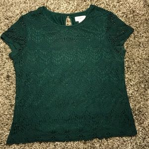 Green LOFT Cap Sleeve Lace Top • Size Small Petite